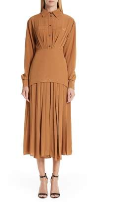 Victoria Beckham Pleated Silk Shirtdress