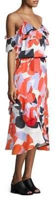 Parker Kam Ruffle Cold-Shoulder Silk Dress