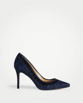 Ann Taylor Ramona Suede Scalloped Pumps