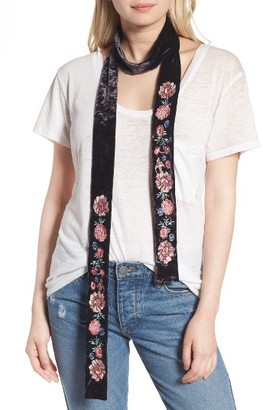 Women's Hinge Floral Embroidered Velvet Skinny Scarf $59 thestylecure.com