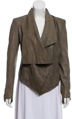 Helmut Lang Leather Draped Jacket
