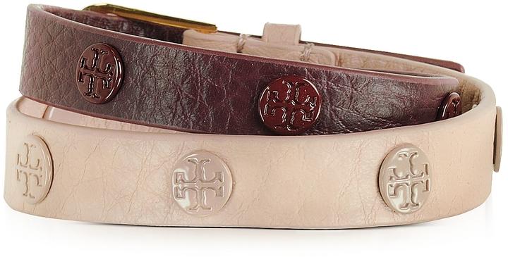 Tory BurchTory Burch Clay Pink/Port Color-Block Double Wrap Logo Stud Bracelet