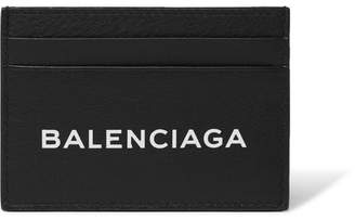 Balenciaga Logo-Print Textured-Leather Cardholder - Black
