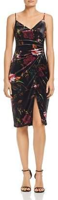 Black Halo Bowery Floral Velour Sheath Dress