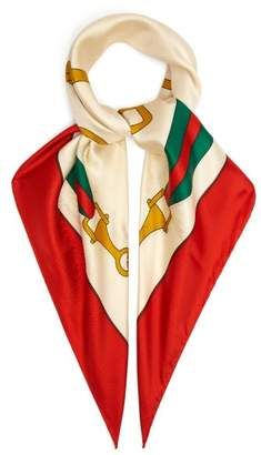 Gucci Stirrup And Web Stripe Print Silk Scarf - Womens - Red