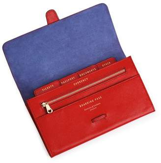 Aspinal of London Classic Travel Wallet In Scarlet Saffiano