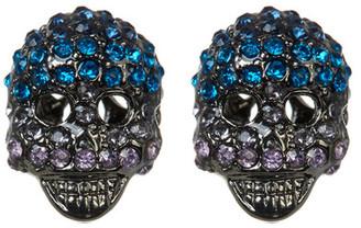 Betsey Johnson Crystal Skull Stud Earrings $30 thestylecure.com