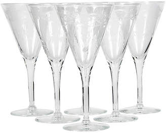 One Kings Lane Vintage Art Deco Etched Tall Wine Stems - Set of 6 - 2-b-Modern