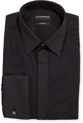 Emporio Armani Men's Solid French-Cuff Tuxedo Shirt