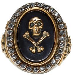 Alexander McQueen Silver Skull & Cross Bone Ring $445 thestylecure.com