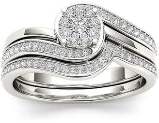 MODERN BRIDE 1/2 CT. T.W. Diamond 10K White Gold Swirl Bridal Ring Set