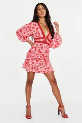 boohoo Floral Ruched Detail Lace Trim Mini Dress