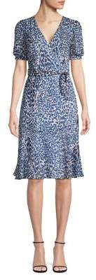 Eliza J Leopard-Print Faux-Wrap Flounce Dress