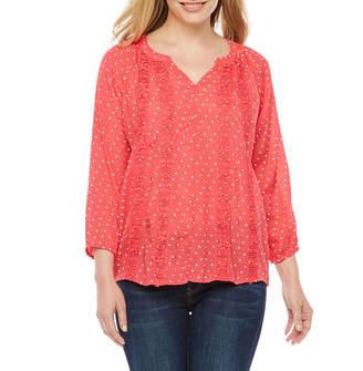 Liz Claiborne 3/4 Sleeve V Neck T-Shirt-Womens Petite