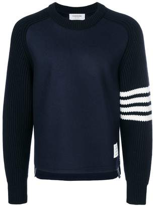 Thom Browne Chunky Saddle Sleeve Cashmere Wool Crewneck Pullover
