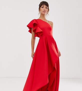 True Violet frill one shoulder high low prom maxi dress in red