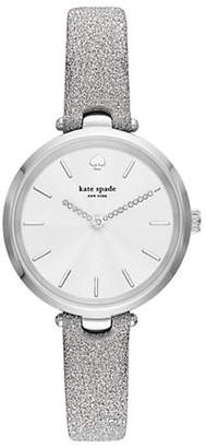 Kate Spade Holland Three-Hand Silver Fabric Watch