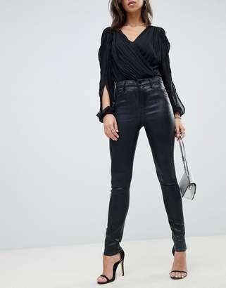 J Brand Maria high rise coated skinny jean