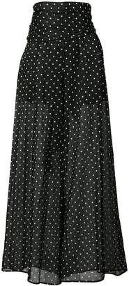 Alexandre Vauthier polka dot print sheer flared trousers