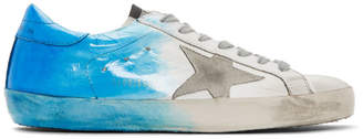 Golden Goose White and Blue Spray Superstar Sneakers