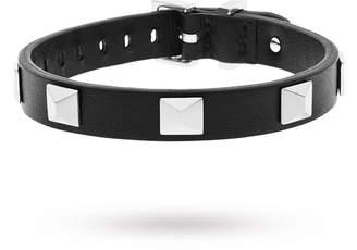 DKNY Parsons Black Leather Stud Bracelet.