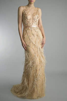 Basix II Embroidered Evening Gown