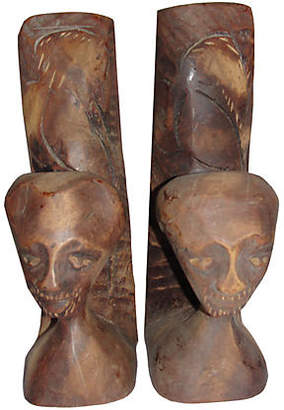 One Kings Lane Vintage African Carved Mahogany Wood Bookends - Treasure Trove NYC