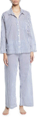 Pour Les Femmes Striped Poplin Long Pajama Set