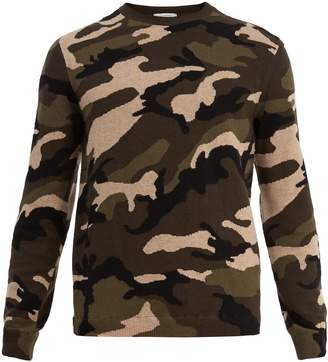 Valentino Camouflage intarsia-knit wool sweater