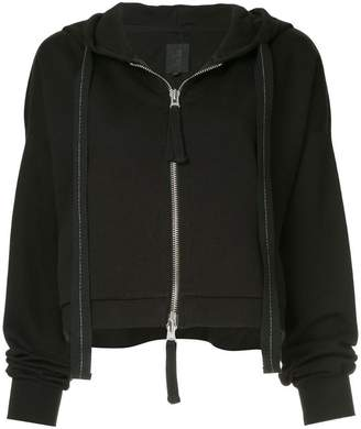 Thom Krom front-zip cropped hoodie