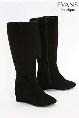 Next Womens Evans Black Extra Wide Fit Bow Detail Wedge Long Boot