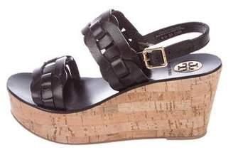Tory Burch Leather Cork Heel Sandals
