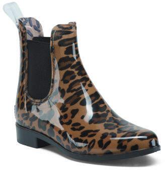 Leopard Twin Gore Ankle Rain Boots