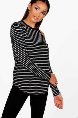 boohoo Sally Stripe Cold Shoulder T-Shirt