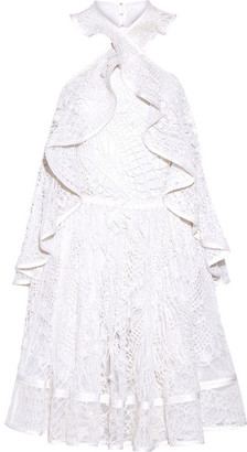 Givenchy - Halterneck Mini Dress In White Embellished Embroidered Cotton-tulle - FR36 $23,475 thestylecure.com