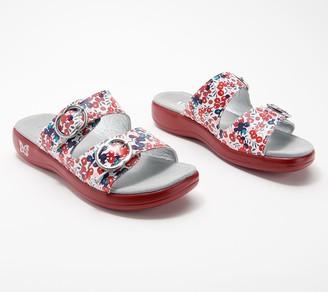 Alegria Leather Adjustable Slide Sandals- Jade