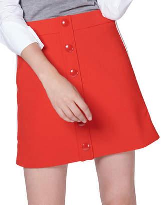 Veronica Beard Malva Racer-Stripe Button Mini Skirt