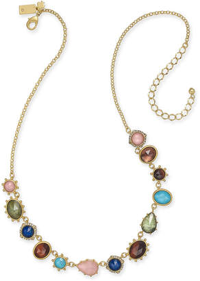"Kate Spade Gold-Tone Multi-Stone Statement Necklace, 17"" + 3"" extender"
