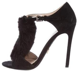 Prada Mink-Trimmed Suede Sandals