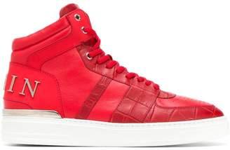 Philipp Plein crocodile detail hi-top sneakers