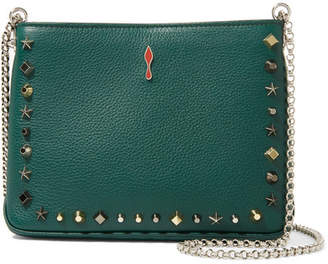 Christian Louboutin Triloubi Small Embellished Textured-leather Shoulder Bag - Dark green