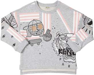 Kenzo Embroidered & Printed Cotton Sweatshirt
