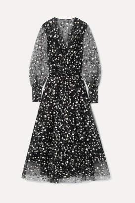 Oscar de la Renta Wrap-effect Floral-print Tulle Gown - Black