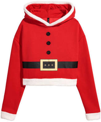 H&M Hooded Christmas Sweatshirt - Red