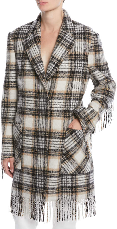 Calvin Klein 205w39nyc Virgin Wool-Blend Fringe Blanket Coat