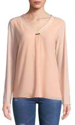 Calvin Klein Sheer V-Neck Blouse