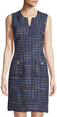 Karl Lagerfeld Paris Sleeveless Tweed Shift Dress, Blue