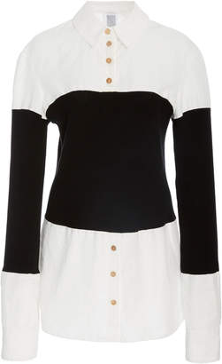 Rosie Assoulin Long Sleeve Shirt With Ribbed Bodice