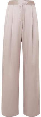 Michelle Mason - Silk-charmeuse Wide-leg Pants - Silver