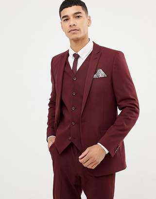 Asos Design DESIGN skinny suit jacket in burgundy